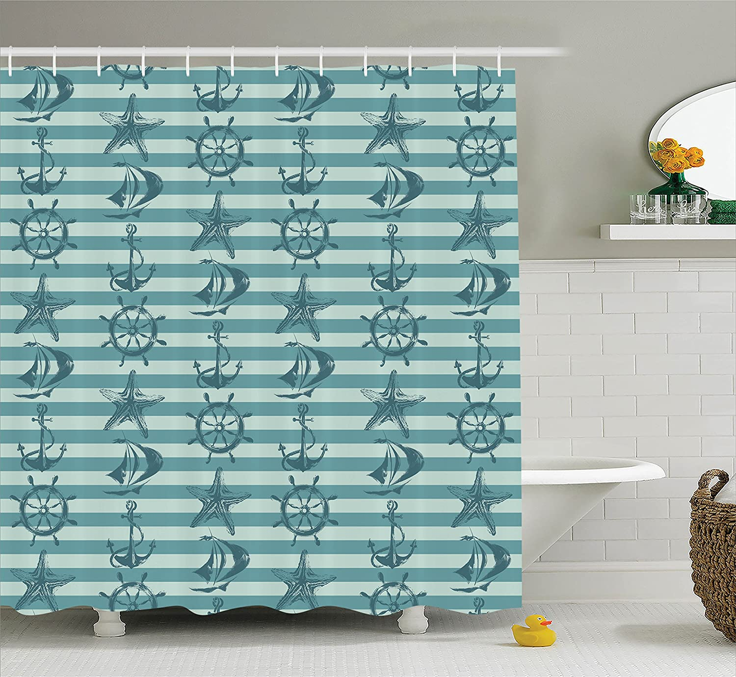 Amazon.com: Cityscape Shower Curtain by Ambesonne, Dubai at Night ...