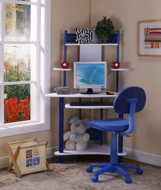 Amazon.com: Kings Brand Blue Finish Corner Workstation Kids Childrenu0027s  Computer Desk U0026 Chair: Kitchen U0026 Dining