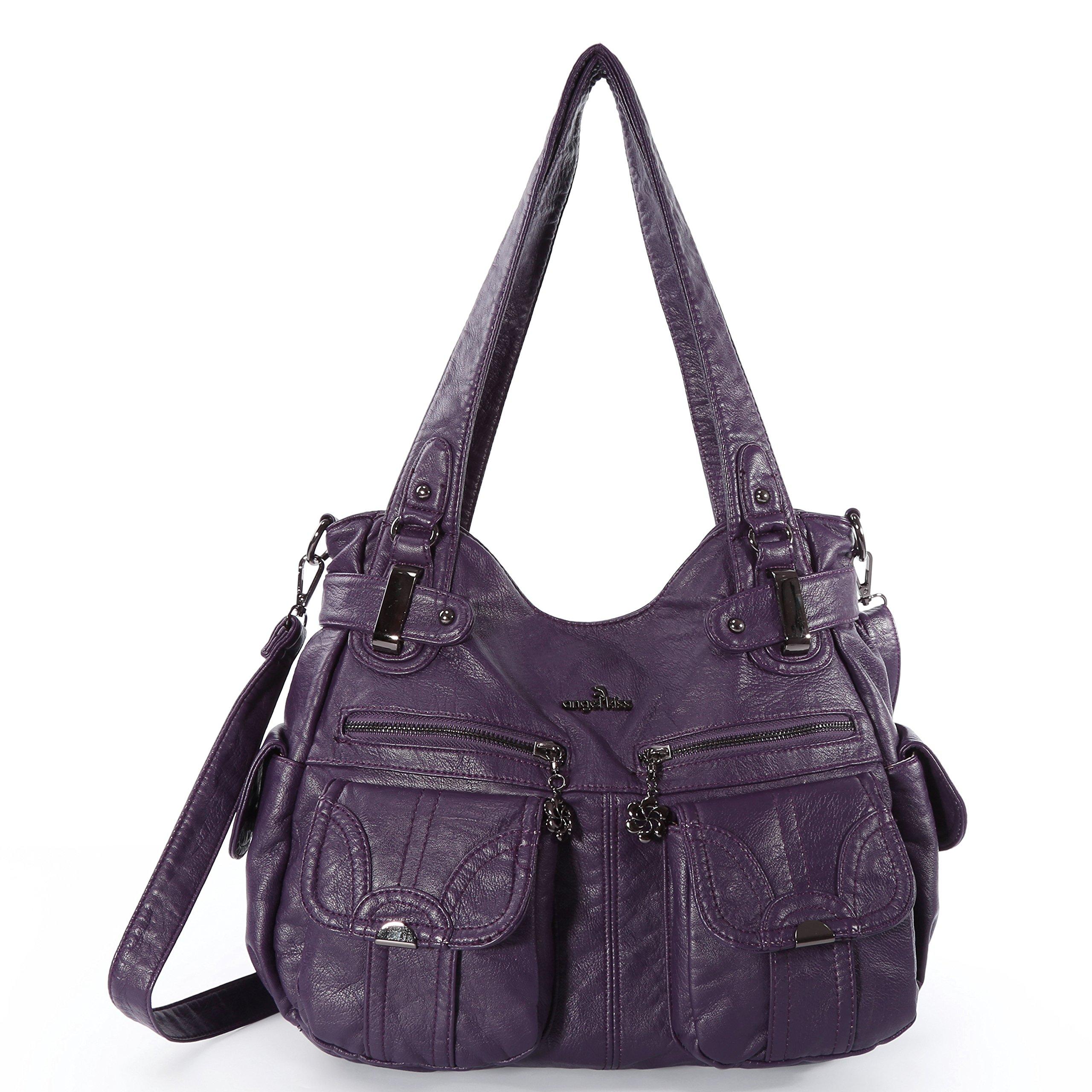 Angelkiss Women's Handbag Large Double Zipper Multi Pocket Washed Shoulder bag Designer Handbags for Women …