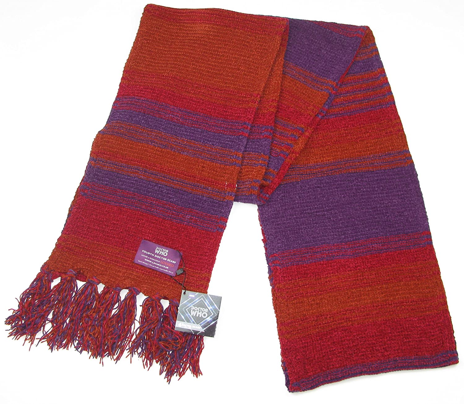 Doctor Who Scarf - Official BBC Doctor Who Season 18 Chenille Scarf - 4th Doctor Burgundy 12 feet long scarf by Lovarzi