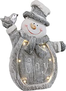 Sunnydaze Joyful Snowman Indoor Christmas Decoration with LED Lights - Holiday Winter Lighted Statue Figurine for Table, Fireplace Mantle and Shelf - Battery Operated Pre-Lit Accent - 15-Inch