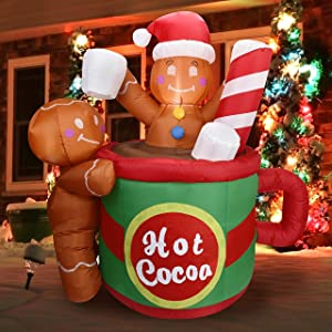 Joiedomi Christmas Inflatable Decoration 6ft Gingerbread Man in Hot Cocoa Mug Inflatable with Build-in LEDs Blow Up Inflatables for Xmas Party Indoor, Outdoor, Yard, Garden, Lawn, Winter Decor