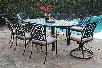 Outdoor Cast Aluminum Patio Furniture 9 Piece Dining Set AO With 6 Armchair  U0026 2 Swivel