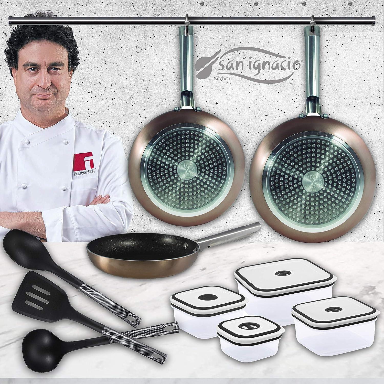San Ignacio Pixel Pro Cooper sartenes + 4 recipientes herméticos + 3 Utensilios de Cocina, Set B&W