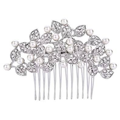 TENYE Austrian Crystal White Simulated Pearl Filigree Flower Leaves Hair Comb Clear Silver-Tone TWba3
