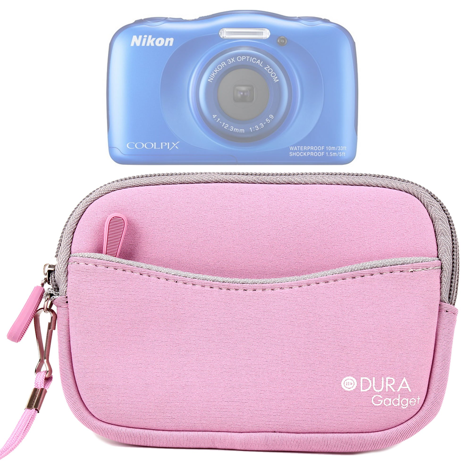 High Quality Water-Resistant Neoprene Case with Front Zip Compartment in Pink for NEW Nikon Coolpix W300 / Nikon Coolpix A100 / Nikon CoolPix AW130 and CoolPix S33 - by DURAGADGET