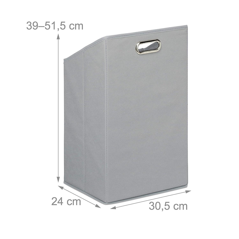poli/éster Caja Plegable de Tela Marr/ón//Gris Relaxdays Cesto para la Ropa Sucia 95x40x30 cm Estanter/ía de bamb/ú