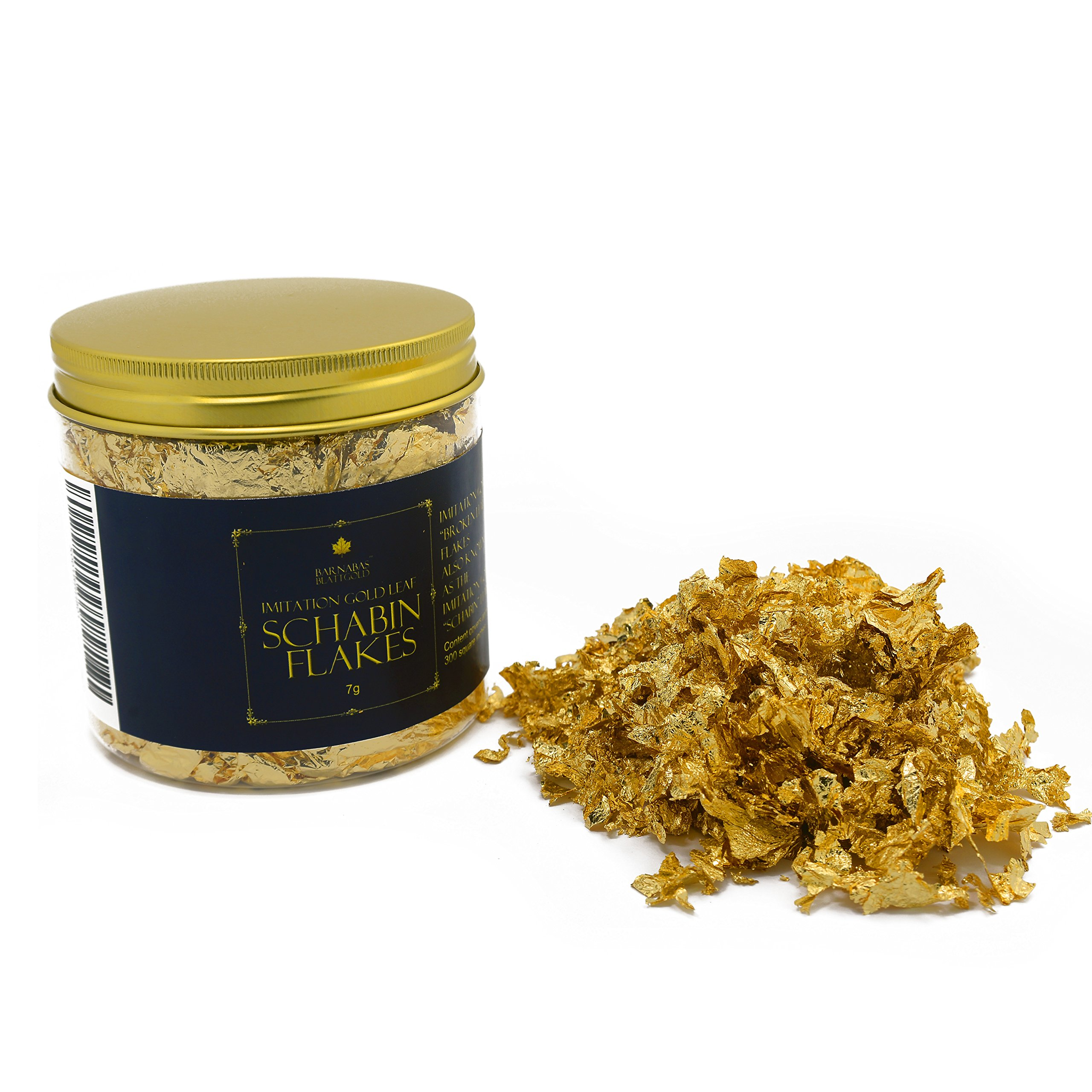 Imitation Gold Leaf Schabin Flakes Metallic Foil Flakes for Gilding, Painting Arts and Crafts (16oz jar)