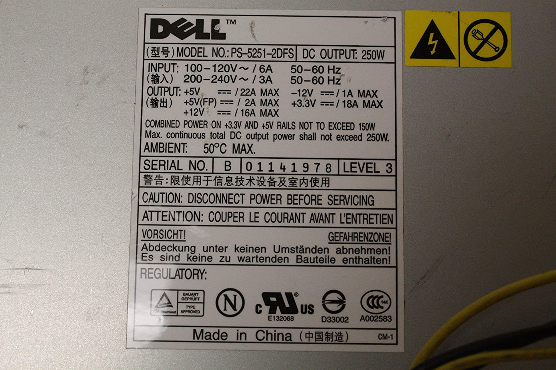 Certified Refurbished Genuine Dell Dimension Optiplex 250W Power Supply PS-5251-2DFS F0894//H2678 K2583