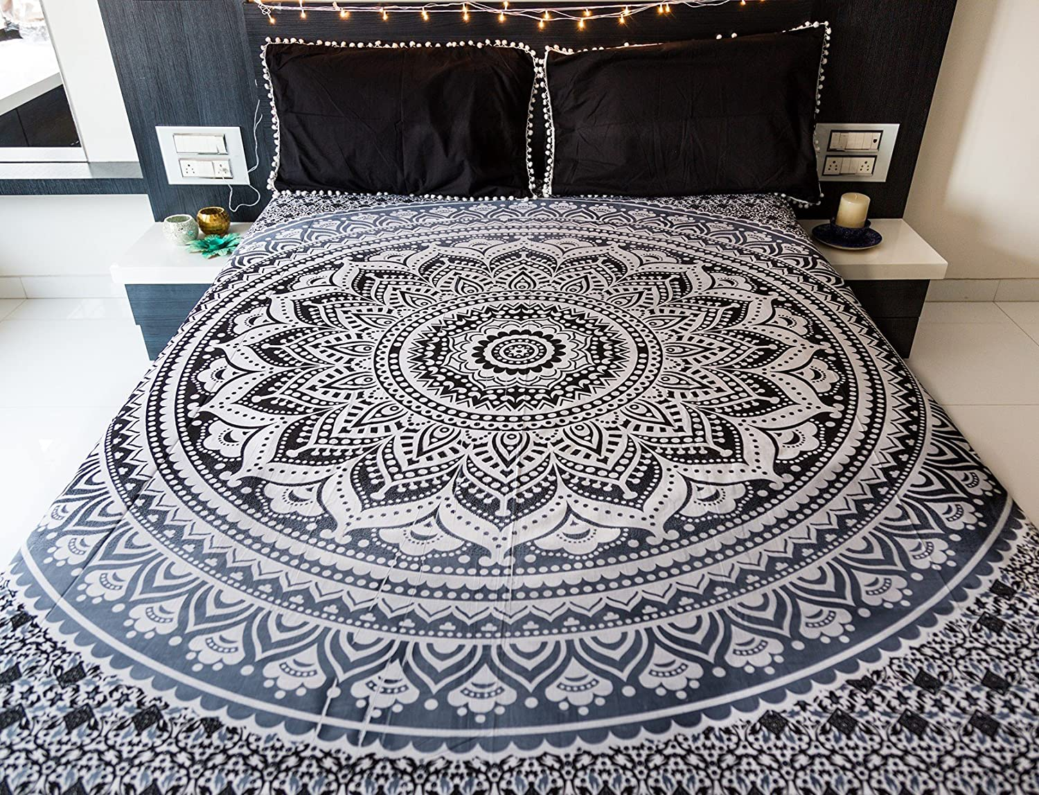 Indie Pop Mandala Tapestry Bedding with Pillow Covers, Indian Bohemian Hippie Tapestry Wall Hanging, Hippy Blanket or Beach Throw, Mandala Ombre Bedspread for Bedroom, Black Gray Queen Size Boho Decor Folkulture FMT09