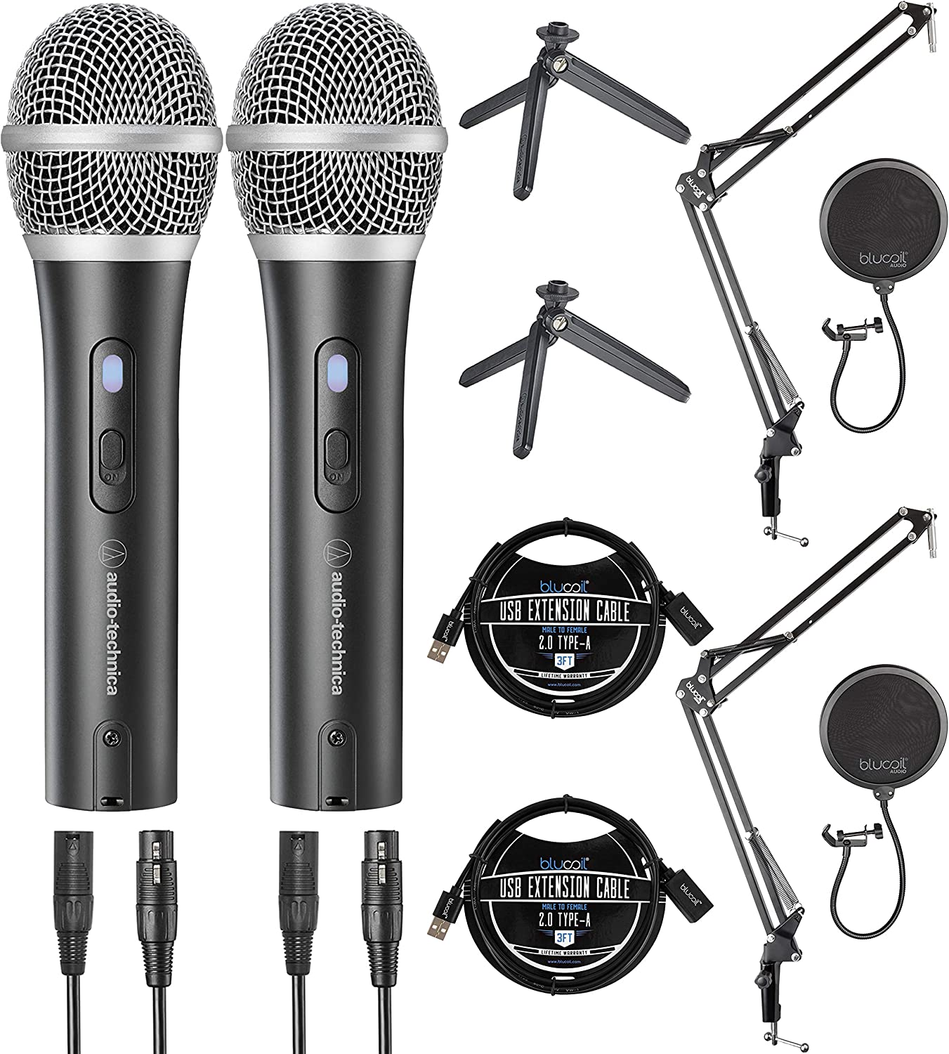 Audio-Technica ATR2100X-USB Dynamic Microphones for Home Studio Recording and 3 USB Extension Cables 2-Pack 2-Pack Boom Arm Plus Pop Filters Bundle with Blucoil USB Hub Type-A 2-Pack