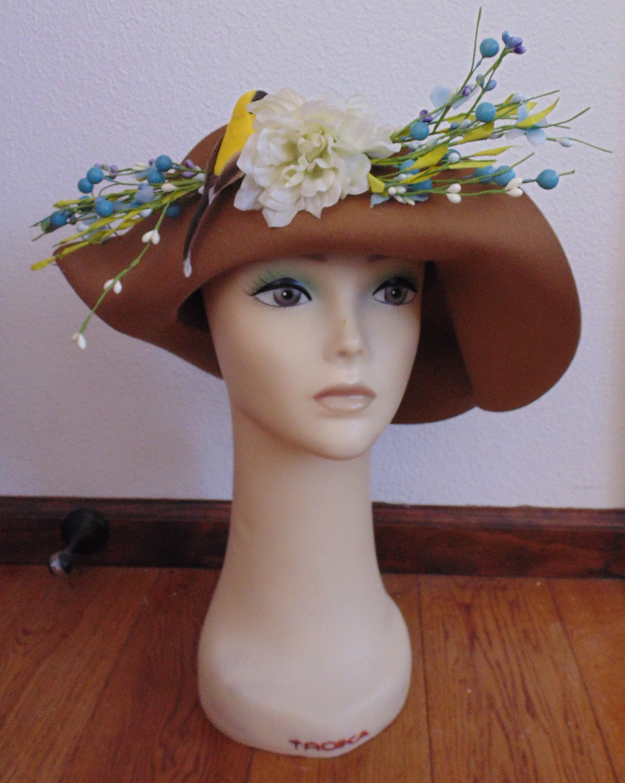 Brown with beads and a Bird Felt Flop Derby Hat!