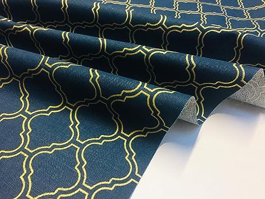 Tela Impresión Damasco árabe marroquí Dorado Azul Marino Cortina Material de 280cm de ancho