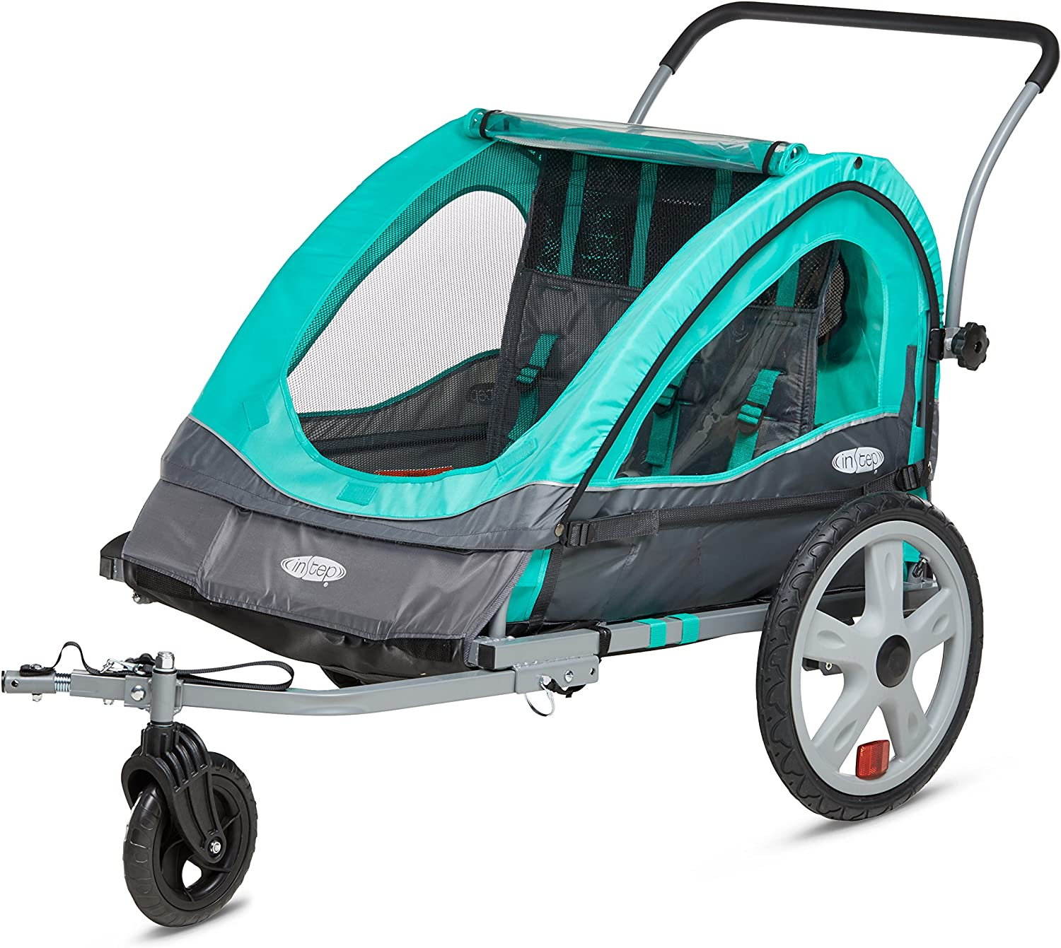Instep Quick-N-EZ Double Seat Foldable Tow Behind Bike Trailers, Converts to Stroller Jogger, Featuring 2-in-1 Canopy and 16-Inch Wheels, for Kids and Children, Multiple Colors Available