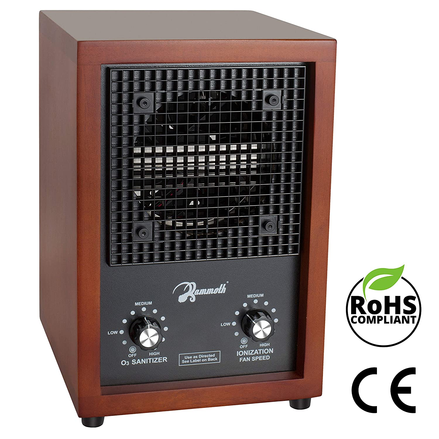 Mammoth Adjustable Ozone Generator Air Purifier for Home Use 3000mg Output Cherry Wood