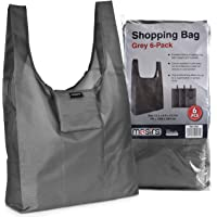 Reusable Grocery Shopping Bag - Replace Paper and Plastic Bags with These Large and Strong Eco Friendly Bags. The Bag Turns into a Carrying Pouch When Folded into Its Own Pocket. (Grey | 6-Pack)