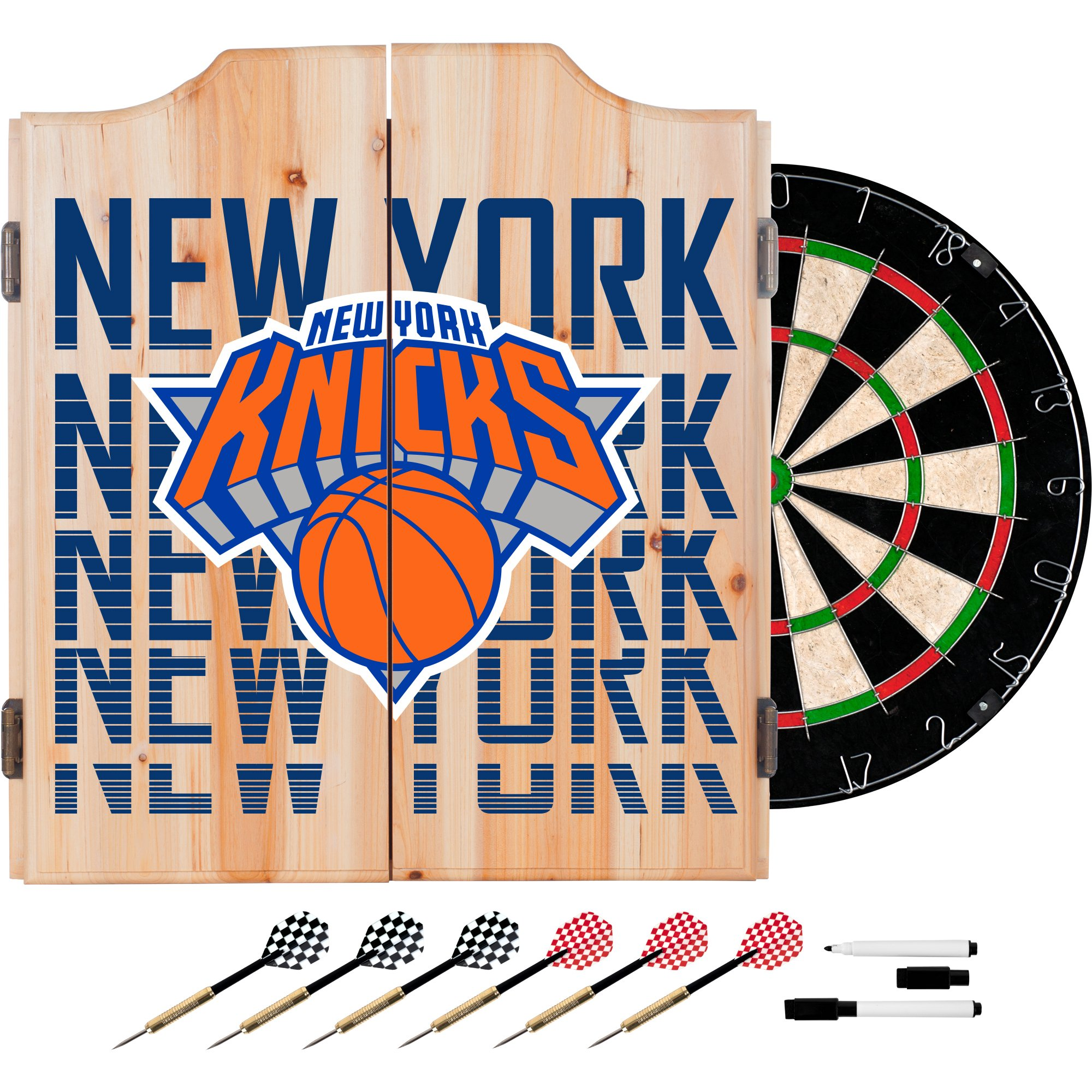 Trademark Gameroom NBA7010-NY3 NBA Dart Cabinet Set with Darts & Board - City - New York Knicks