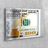 Money Press Rubberband Rolled Up Dollar Money Design Canvas Print Art Home Decor Wall (18in x 12in Gallery Wrapped)