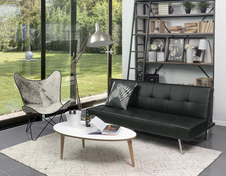Homely - Sofá Cama de 3 plazas Apertura Clic-clac KOHTAO tapizado en Polipiel de 176 cm (Negro)