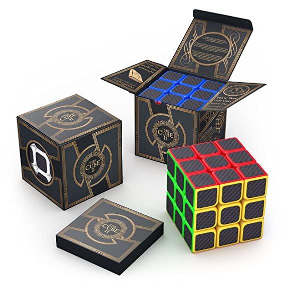 aGreatLife The Original Cube Carbon Fiber 3x3 - Super Sticky Stickers, Colorful Cubic Toy - Speed Cube II 3x3x3 Logic Puzzle - Best Smart Games from Toddlers to Professional Adults