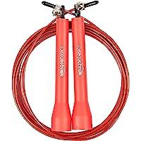 AmazonBasics Plastic Speed Jump Rope, Red
