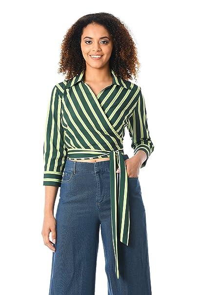 1930s Style Blouses, Shirts, Tops   Vintage Blouses eShakti Womens Stripe Print Crepe Crop wrap top $49.95 AT vintagedancer.com
