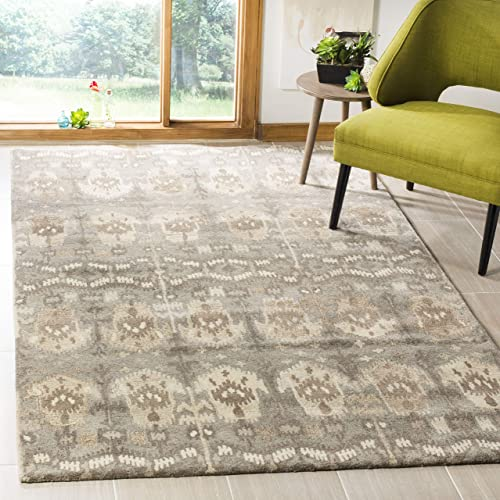 Safavieh Wyndham Collection WYD721A Handmade Natural and Multi Wool Area Rug, 6 feet by 9 feet 6 x 9