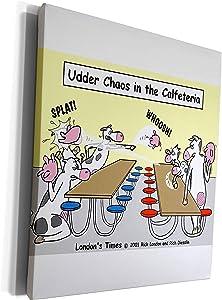 3dRose Rich Diesslins Funny Cow Cartoons - Udder Chaos - Cow Food Fight - Museum Grade Canvas Wrap (cw_2971_1)