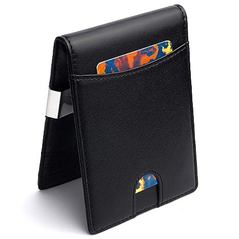 e270815676c0c Design Geldbörse mit Geldklammer und Münzfach – RFID NFC Schutz – Schlankes  Portemonnaie mit Geldscheinklammer