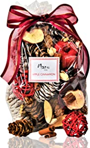 Manu Home Apple Cinnamon Potpourri | Enjoy a Blend of Apple Cider, Cinnamon and Clove | Beautiful Natural Botanicals with Red and Brown Colors | Made in The USA!