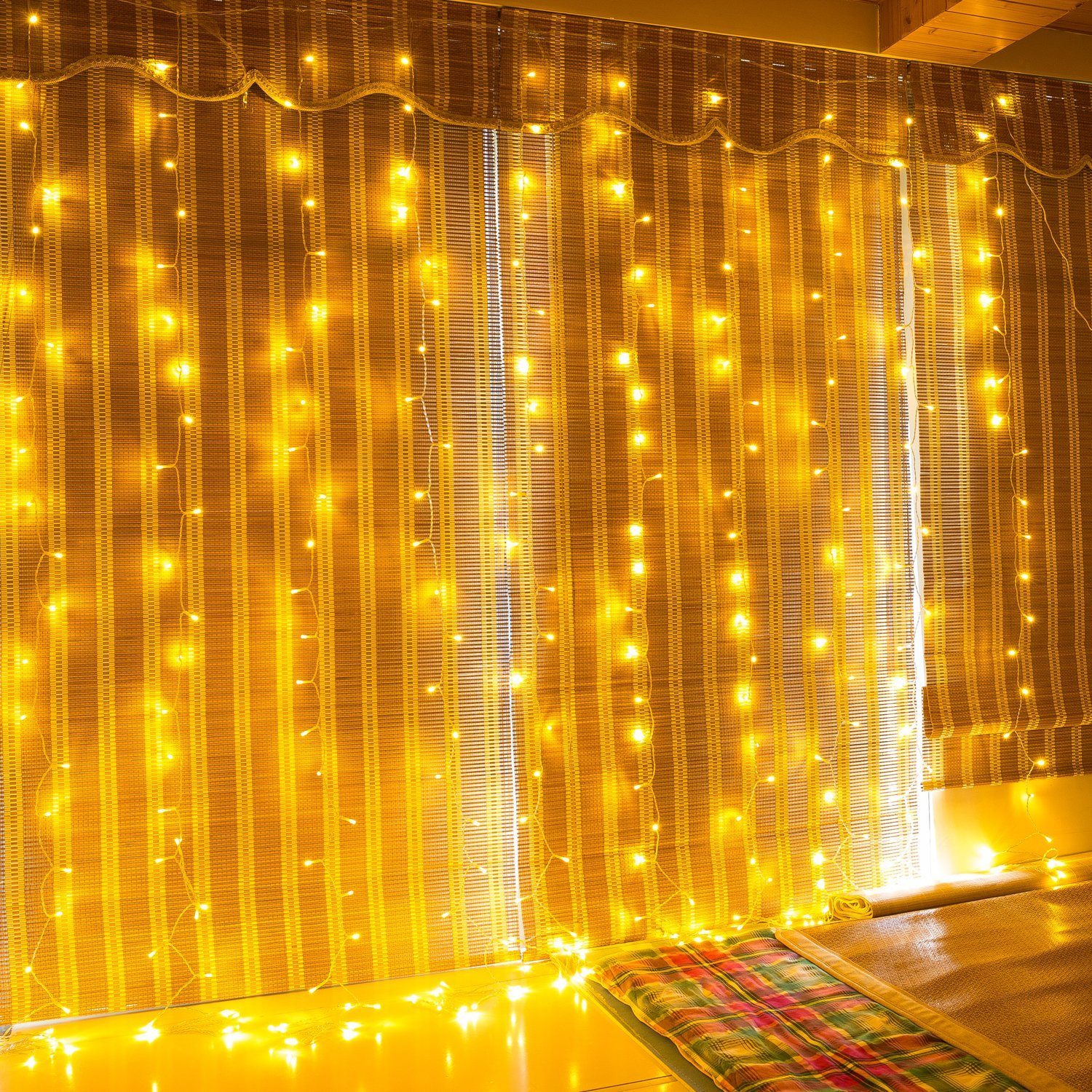 M-Better LED String Lights Curtain Lights 300LEDS 8 Modes Indoor Outdoor Window Curtains String Lights,Warm White Garden Lights for Wedding,Valentine's Day, Christmas, Party, Bedroom&Garden