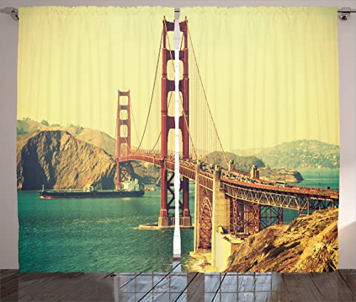 Ambesonne Vintage Decor Curtains, Old Film Retro Featured Golden Gate Bridge Suspension Urban Path Construction Scenery, Living Room Bedroom Decor, 2 Panel Set, 108 W X 84 L Inches, Blue Brown