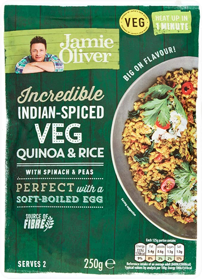 Jamie Oliver Ready To Eat Indian Spiced Veg Quinoa Rice 250gx6 Pack Of 6 Oliver Ready To Eat Indian Spiced Veg Quinoa Rice 250gx6 Pack Of 6 Amazon Co Uk Grocery