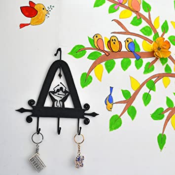 Kitchen Wall Mount Office Chinhhari Arts Original Creative Wrought Iron Tribal Dance Key Chain Holder for Entryway Living Room 9.5 X 9.5 X 1 inch Wall Decor Art