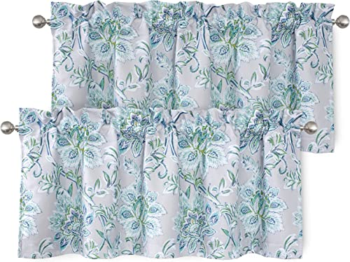 DriftAway Alyssa Jacobean Elegant Floral Leaves Pattern Thermal Insulated Blackout Lined Rod Pocket Window Curtain Valance for Kitchen Caf 2 Pack 52 Inch by 18 Inch Plus 2 Inch Header Gray