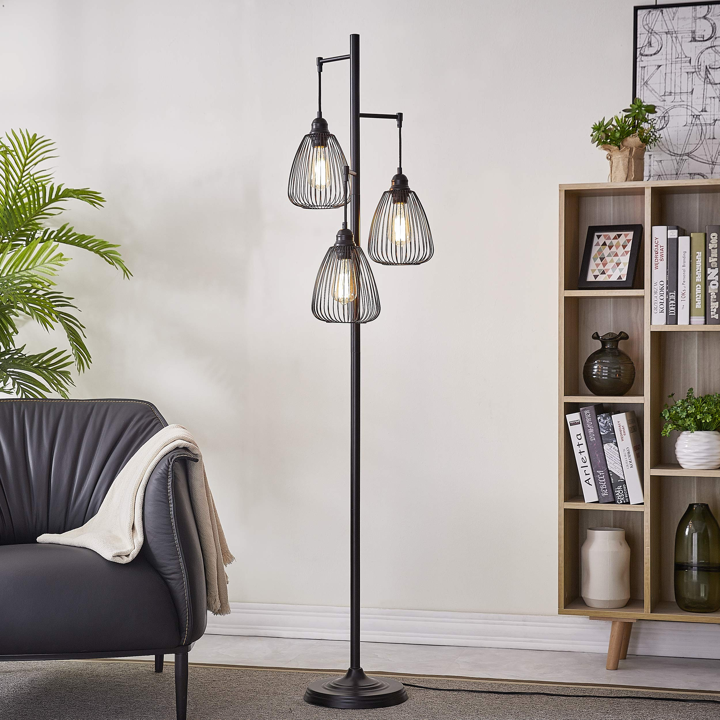 LeeZM Black Industrial Floor Lamp For Living Room Modern Floor Lighting Rustic Tall Stand Up Lamp Vintage Farmhouse Tree Floor Lamps For Bedrooms, Office Torchiere Standing Lamp 3 Light Bulbs Included by LeeZM