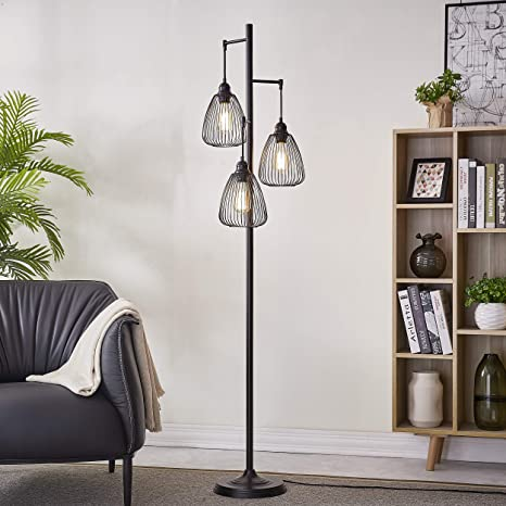 LeeZM Black Industrial Floor Lamp For Living Room Modern Floor Lighting  Rustic Tall Stand Up Lamp Vintage Farmhouse Tree Floor Lamps For Bedrooms,  ...
