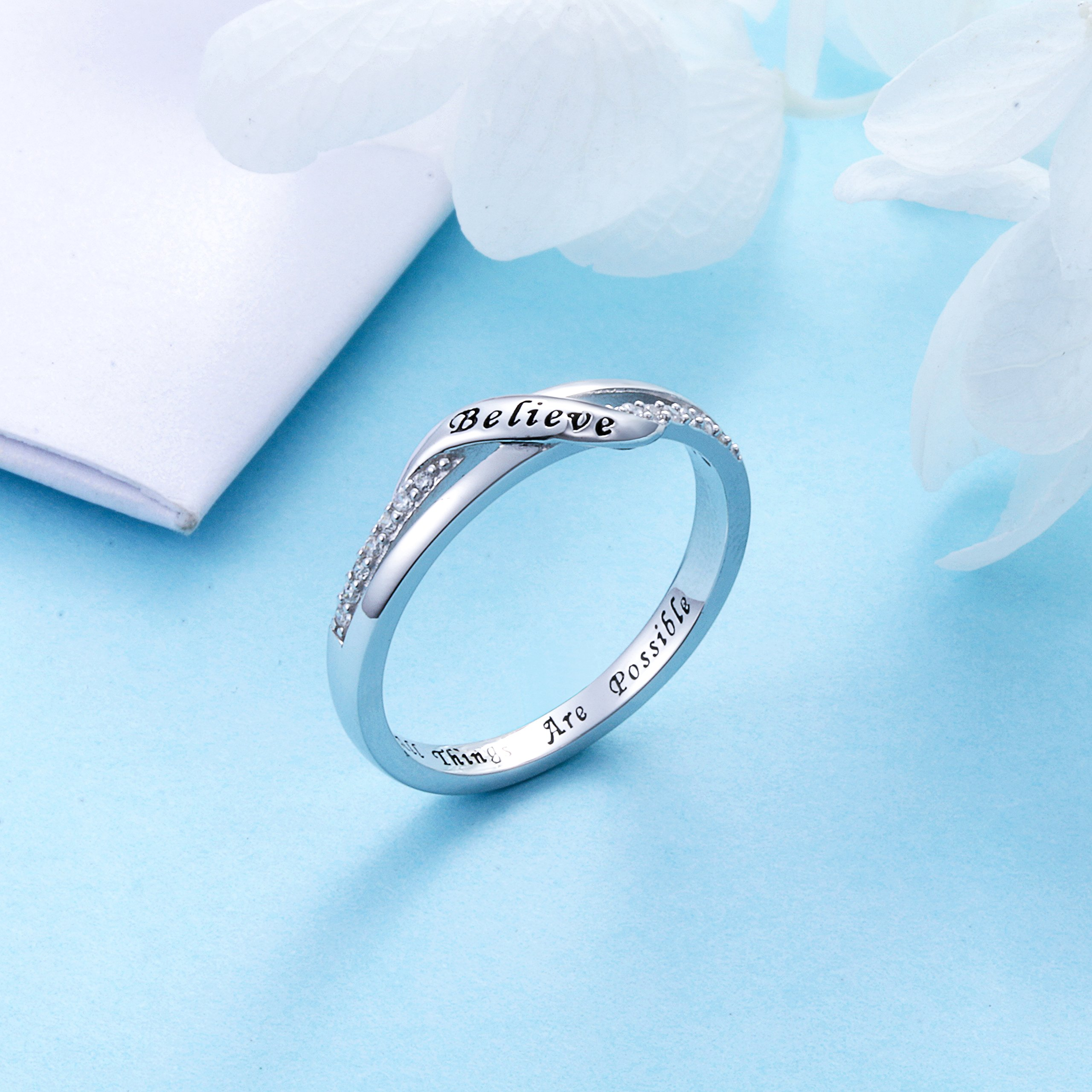 DAOCHONG Inspirational Jewelry Sterling Silver Engraved Believe All Things are Possible Band Ring for Women Girl, Size 6-8 (7) by DAOCHONG (Image #3)