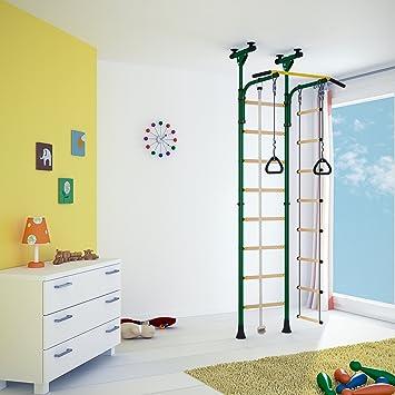 Indoor Klettergerüst für Kinder Sprossenwand Turnwand für Kinderzimmer.  Farbe grün. Für die Raumhöhe von 2,01 bis 2,47 m.