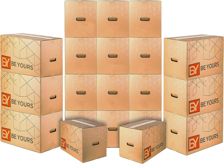 Pack de 20 Cajas Carton Mudanza con asas - Largo 43 cm, Ancho 30 cm, Alto 25 cm - Cajas Mudanza Ultra Resistentes
