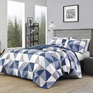 Eddie Bauer Home   North Cove Collection   Bedding Set-1% Cotton Light-Weight Quilt Bedspread, Pre-Washed for Extra Comfort, Twin, Navy