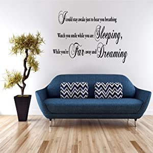 Dozili I Could Stay Awake Aerosmith Lyrics Wall Art Decal Sticker Mural Inspirational Quote Home Kitchen Bedroom Typography Wall Decor,75cm x 40cm