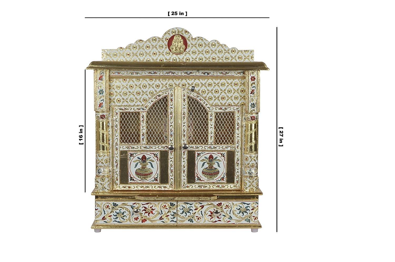 Amazon.com: Premium Meenakari Gold Home Pooja Mandir with Doors 25 ...