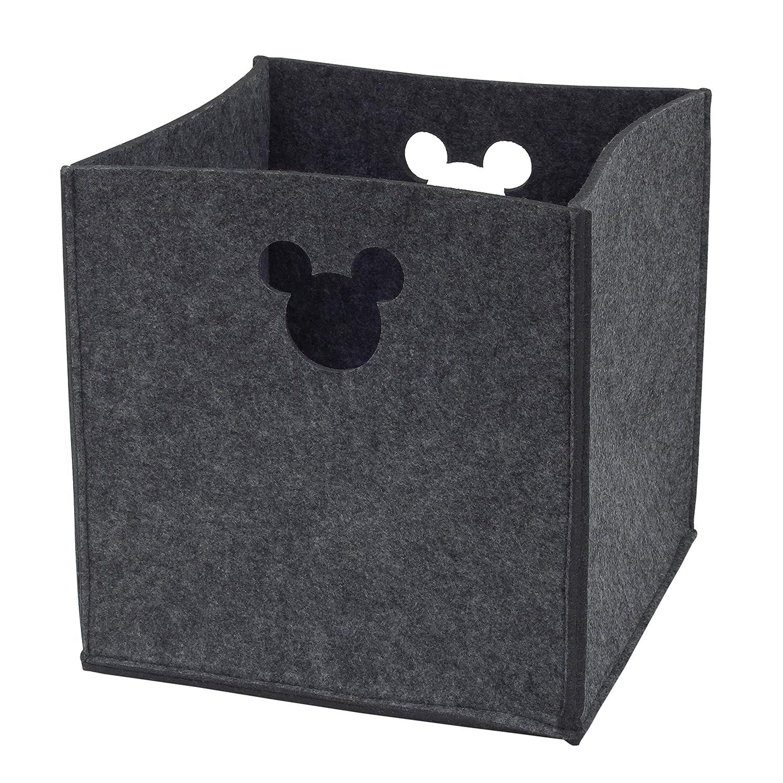 Disney Felt Die Cut Storage Bin, Grey, Mickey Mouse