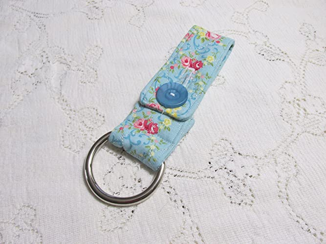 Shabby Chic Blue Roses Quilted Kitchen Towel Holder   Heavy Duty D Ring