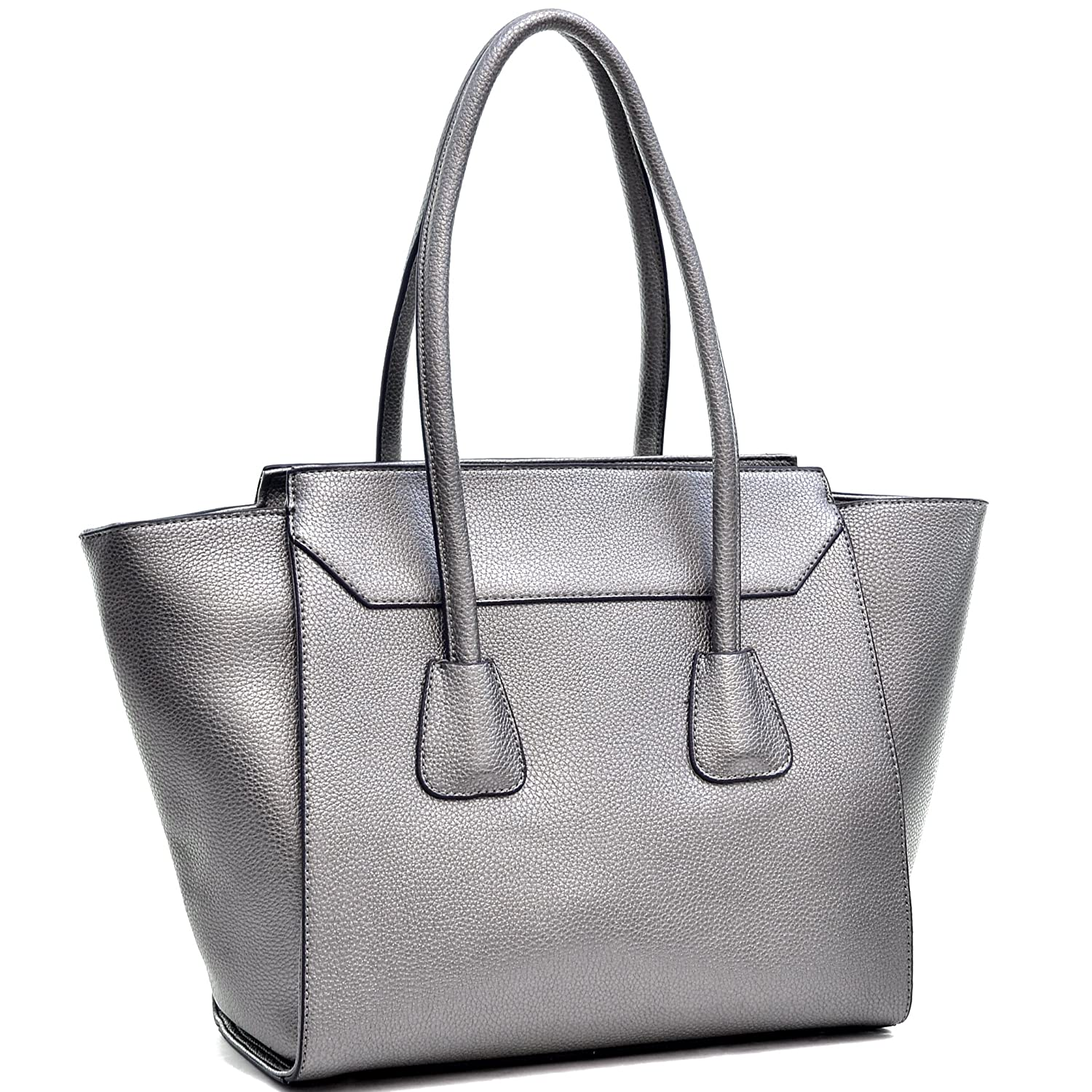 Dasein Faux Leather Winged Satchel Shoulder Bag - Silver
