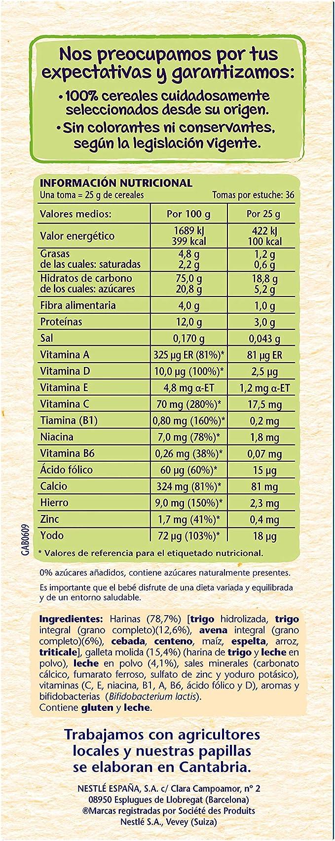 Nestlé Papilla 8 cereales con galleta María, Alimento Para bebés - 900 gr: Amazon.es: Alimentación y bebidas