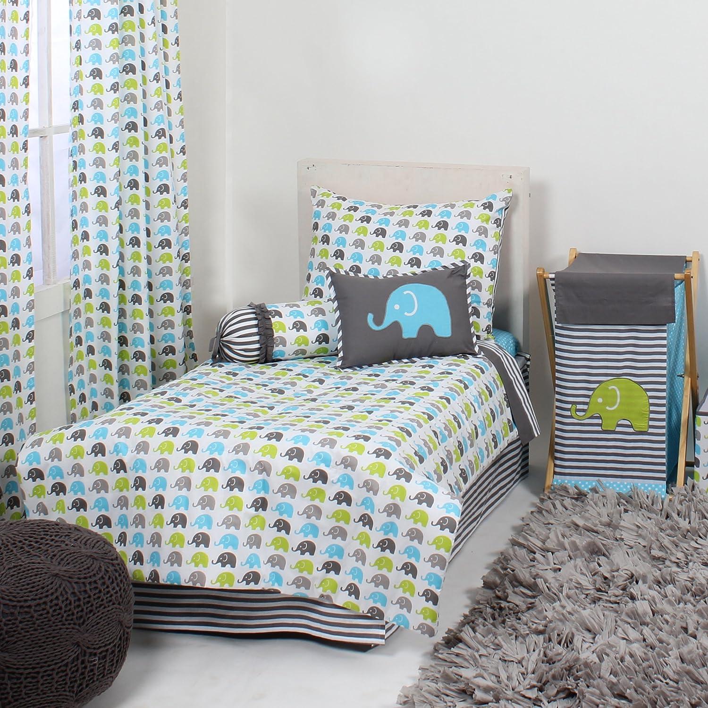 Bacati - Elephants Aqua/Lime/Grey 4 Pc Toddler Bedding Set