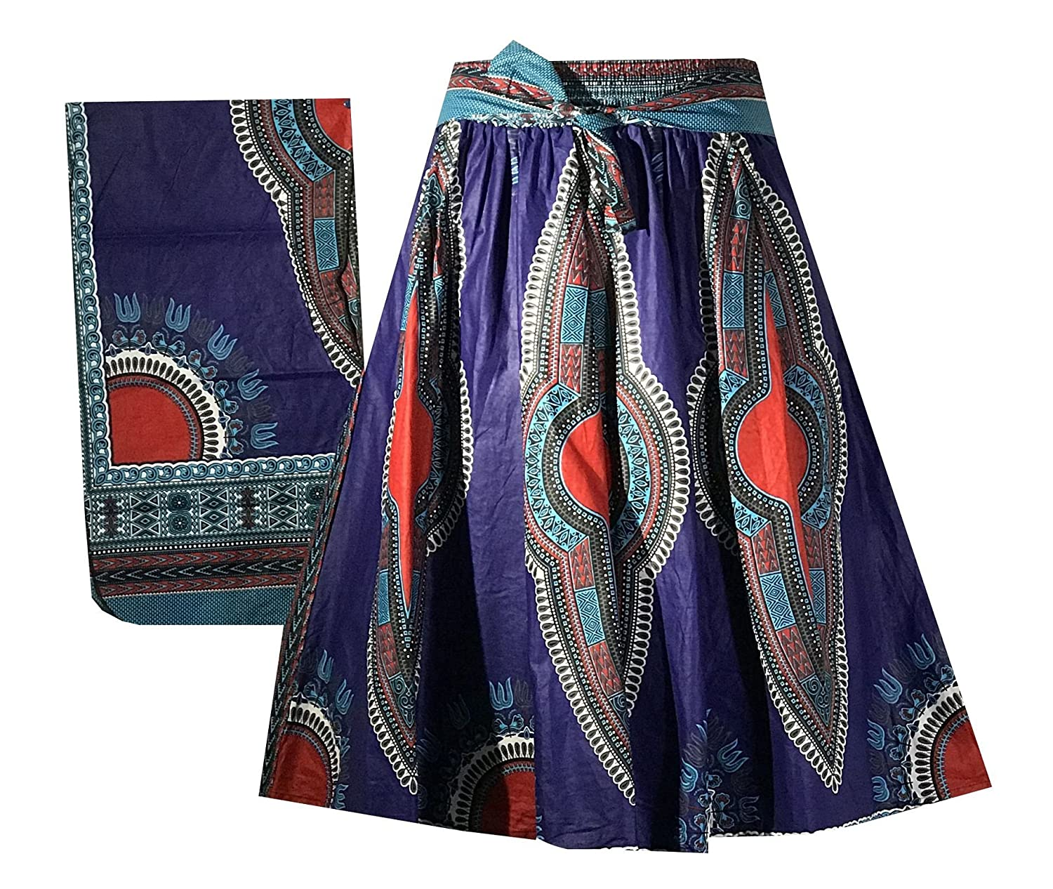 Decoraapparel Women's African Dashiki Maxi Skirt Long High Waist Skirt One Size 781385580406