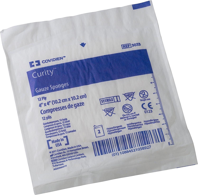 Covidien - Covidien 3033 Curity - Compresas de gasa estériles de 12 capas en paquetes de 2 unidades, 10 x 10 cm (Pack de 50 unidades): Amazon.es: Amazon.es